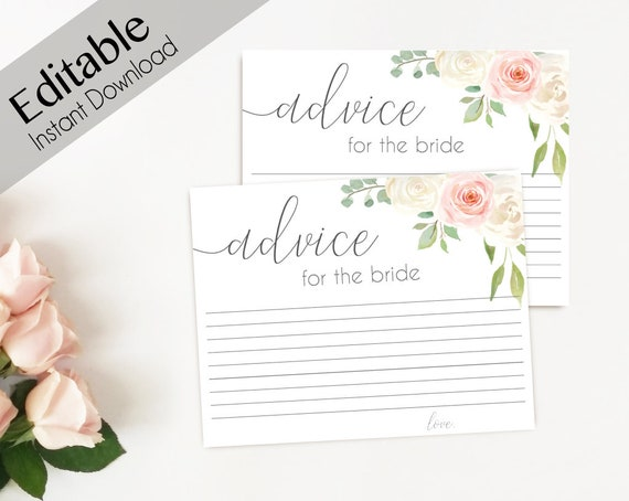 Advice Card Printable, Bridal Shower Advice Card, Advice for the bride and groom, Instant Download, Blush Pink White Floral