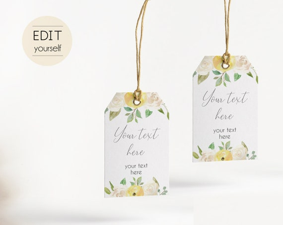 Favor Tag Bridal Shower Template Editable PDF Baby Wedding shower tag Bridal Tea Tag Instant Download, Romantic Bloom Yellow White Flower