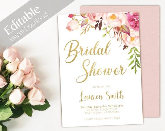 Bridal Shower Invitation Editable PDF, Bridal Shower Printable, Romantic Blush Pink Floral Bloom, DIY Bridal Invitation Pink Gold