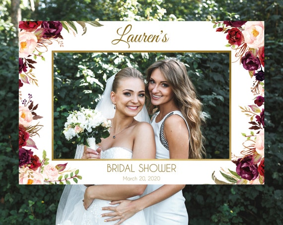 Bridal Shower Photo Booth Frame, Bridal Shower Photo Prop Frame Horizontal, Marsala Burgundy Blush Floral Gold, Corjl