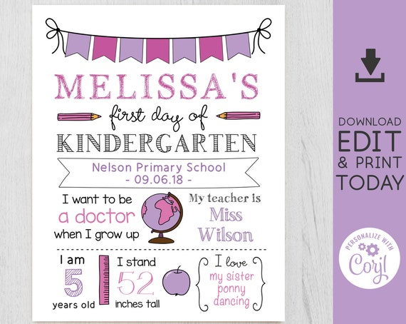 Back to School Sign, First/Last Day of School Sign, Back to School template, 1st day of school Chalkboard Editable, White board girl, Corjl