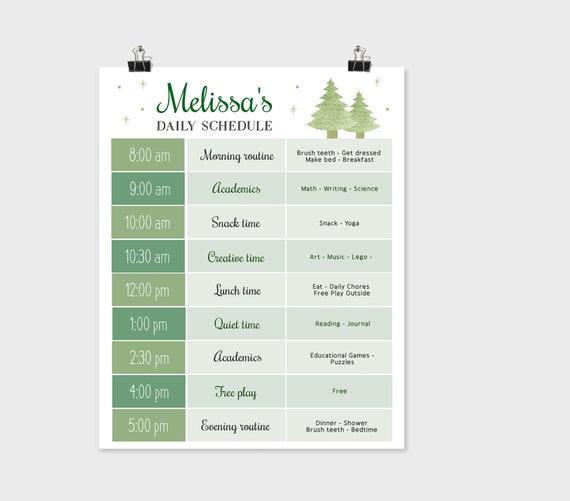 Editable Home School Daily Planner, Editable Daily Routine Schedule, Christmas Routine Schedule Chart, Daily Homeschool Planner, Corjl