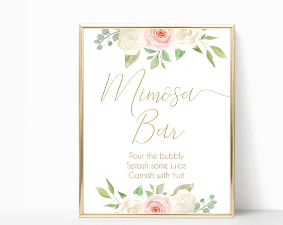 Mimosa Bar sign, Blush White Pink Gold flowers, Bubbly Bar Sign, Wedding Bar Sign, Printable Sign, Wedding Sign, Engagement Party Mimosa