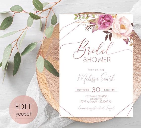 Rose Gold Bridal Wedding Shower Invitation, Editable Bridal Shower Invite, Bridal Shower Printable, Romantic Blush Rose Flowers Geometric