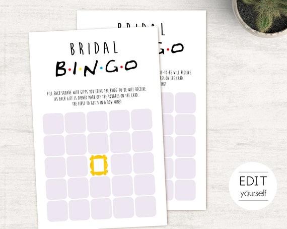 Friends Tv Show Bridal Shower Game, Editable Game, Bachelorette game, Friends Theme, Friends Bridal Bingo,