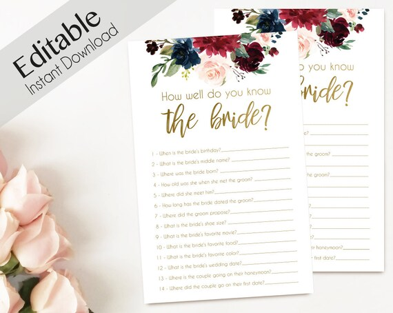Bridal Shower Game, How well do you know the bride, Editable PDF, Bridal Shower, Blue Navy Marsala Burgundy Blush Gold, Editable Game