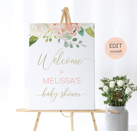 Peach Baby Shower, Welcome Sign Baby Shower, Template Baby Shower, Editable PDF, Welcome Baby Shower Sign Gold, Editable Sign