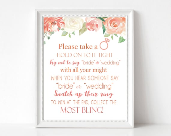 Don't Say Bride or Wedding, Bridal Shower Games Printable, don't say bride game, Peach Floral Sign, INSTANT DOWNLOAD