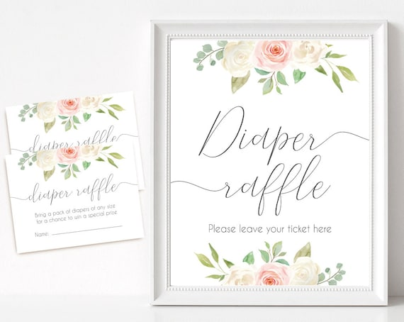 Diaper Raffle Sign, Diaper Raffle Card, Baby Shower Sign Printable, Romantic Blush Pink White Floral, Baby Shower, Instant Download