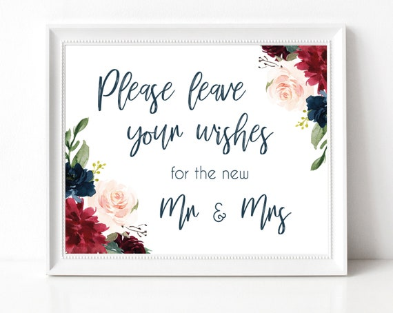 Well Wishes for the New Mr. & Mrs. Sign, Wedding guest book sign, Wedding Advice sign, printable wedding sign, Navy Blue Marsala