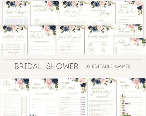 Bridal Shower Games, Bridal Shower Games Bundle, wedding shower games, editable games, Blue Navy Blush Rose and Gold, BG01