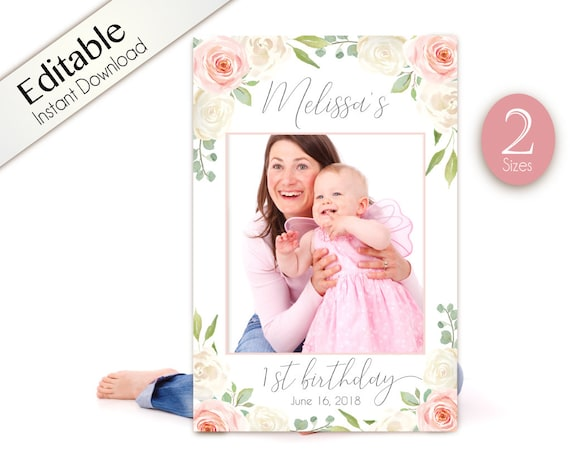 First Birthday Photo Booth Frame, 1st birthday Photo Prop Frame, prop frame, Photo Booth Prop Frame, girl birthday White Blush Pink Floral