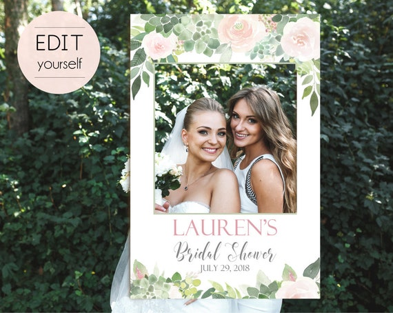 Bridal Shower Succulent Photo Booth Frame, Succulent Photo Prop Frame, Photo Booth Prop, Editable PDF, Succulent greenery Dusty Rose Floral
