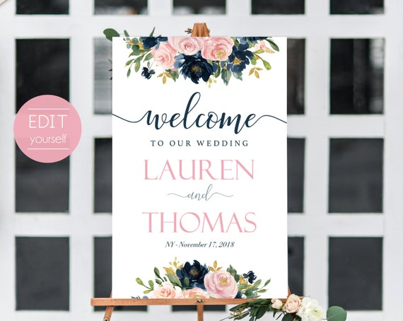 Welcome Sign Wedding Template, Editable PDF, Wedding welcome sign, Wedding welcome, Navy Welcome Wedding Sign, Dusty Rose Navy Blue Floral