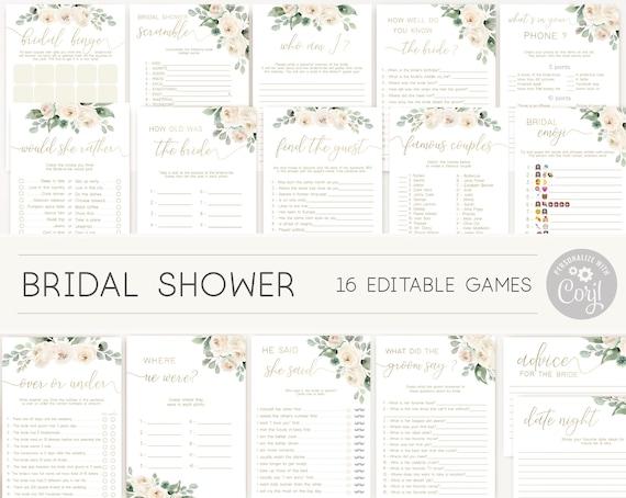 Greenery Bridal Shower Games, Bridal Shower Printable, Greenery Bridal Games Bundle, White Floral Gold, DIY Bridal Games, Corjl