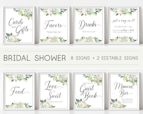 Bridal Shower Sign Set, Bridal Shower Sign Package Bundle,Printable Bridal Tea Sign Succulent Greenery Dusty Rose Flowers Sign Editable Sign
