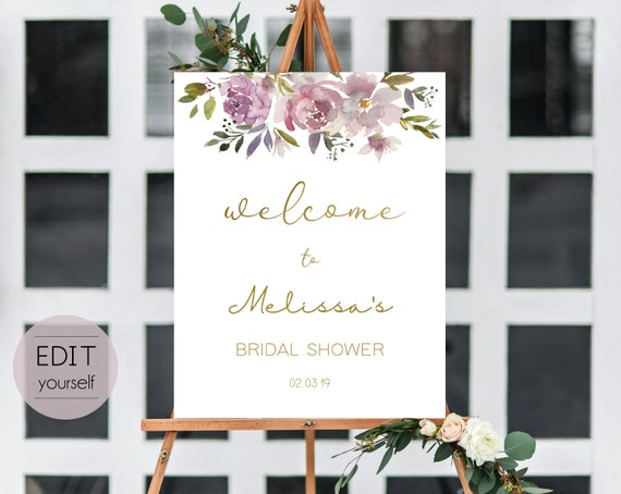 Welcome Sign Bridal Shower Template, Editable PDF ANY EVENT Bridal Baby Baptism Birthday Shower Sign, Mauve Rose, Pale Pink Purple Gold