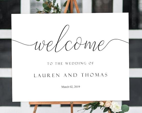 Welcome Wedding Sign, Editable PDF ANY EVENT Bridal Baby Wedding Baptism Birthday Shower Sign, Black Editable wedding sign Horizontal