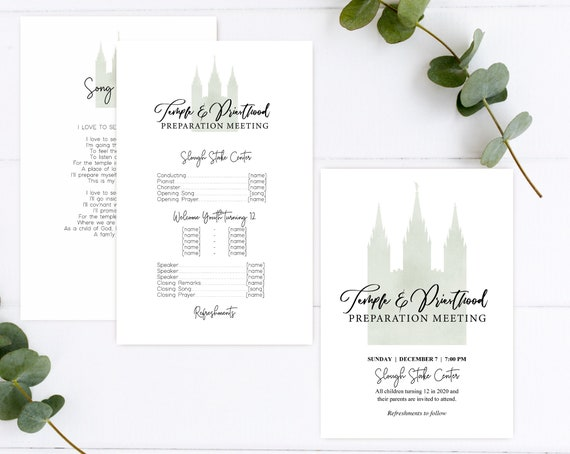 Temple and Priesthood Preparation Meeting, EDITABLE Invitation Program Printable, LDS invitation and program, LDS Primary, Instant Download