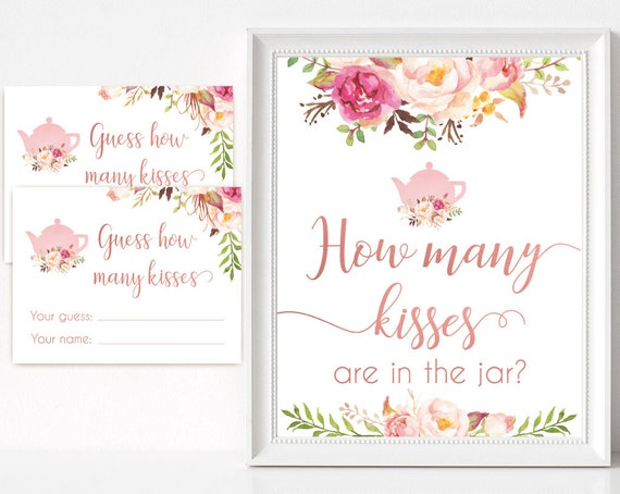 How many kisses are in the jar sign, Blush Bloom Pink Rose Gold Tea Pot, How many kisses cards and sign Bridal Tea How many kisses