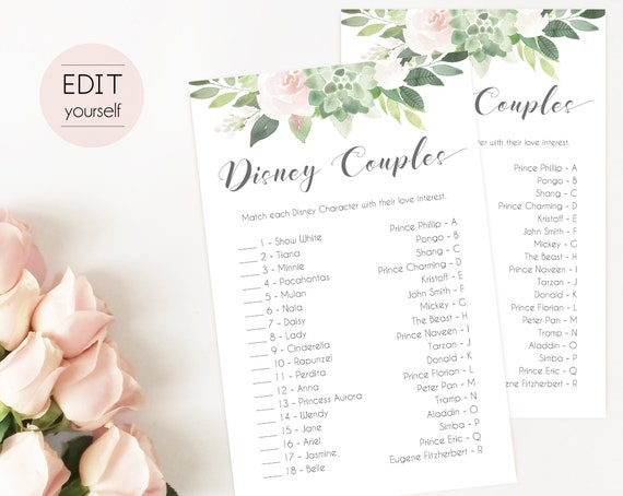 Disney Couples, Bridal Shower Game, Match the Disney Couples Game, Wedding Shower, Instant Download,Succulent Greenery Dusty Rose Flowers