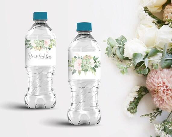 Water Bottle Wrapper Template Bridal Shower Baby Shower Editable Bottle Label Printable Instant Download, Greenery Succulent Blush Pink