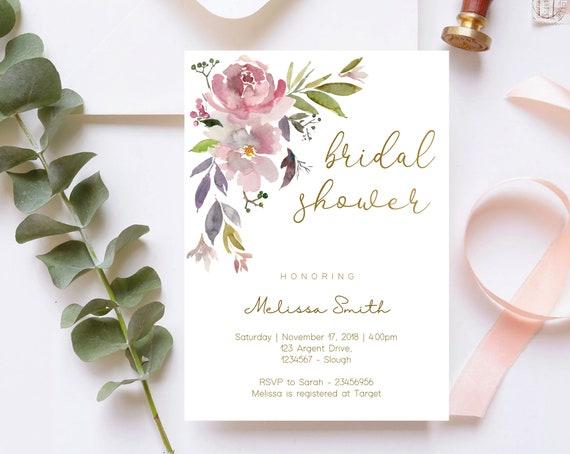 Bridal Shower Invitation, Editable Mauve Rose Bridal Shower invitation, Pale Pink Purple Violet Bridal Shower Invitation, Gold, Corjl