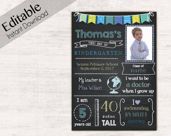 First Day of School Sign Card, First day of School Chalkboard Editable school, Chalkboard Sign, Kindergarten, photo School, INSTANT DOWNLOAD
