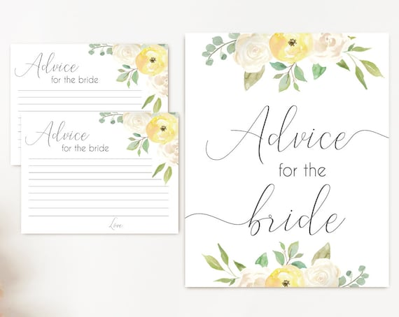 Advice Card Printable, Bridal Shower Advice Card, Advice for the bride and groom, Instant Download, Romantic Yellow white flower