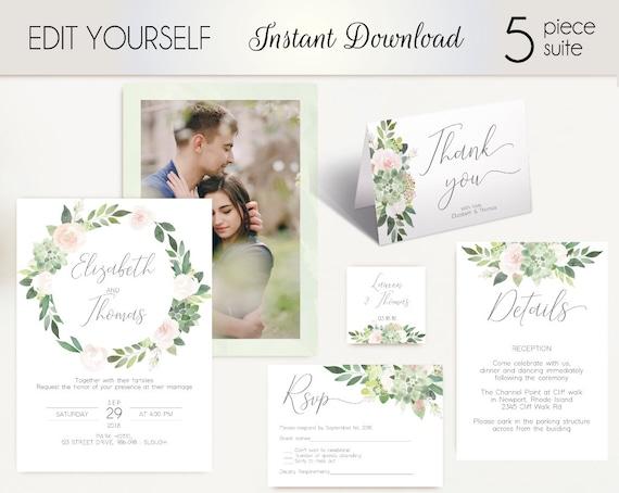 Wedding Invitation Template Succulent Greenery, with photo picture, Wedding Invite Set, Wedding Invitation Suite Succulents Greenery