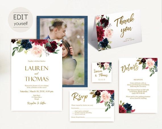Wedding Invitation Template Navy, with photo picture, Wedding Invite Set, Wedding Invitation Suite Blue Navy Marsala Burgundy Blush Gold