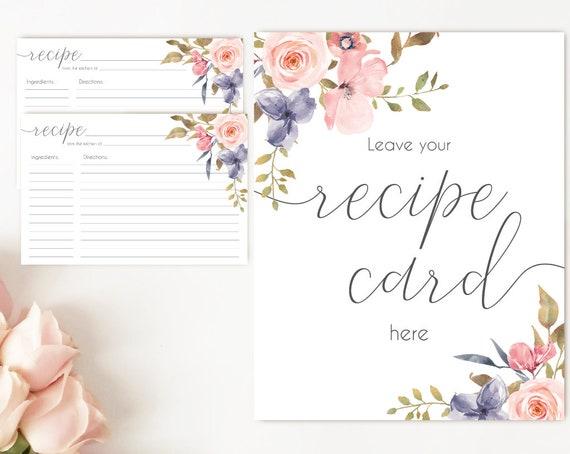 Recipe Cards Bridal Shower, Recipe Sign, Recipe Card Printable Blush Pink Floral Bridal Recipe Card Floral INSTANT DOWNLOAD Printable 4x6