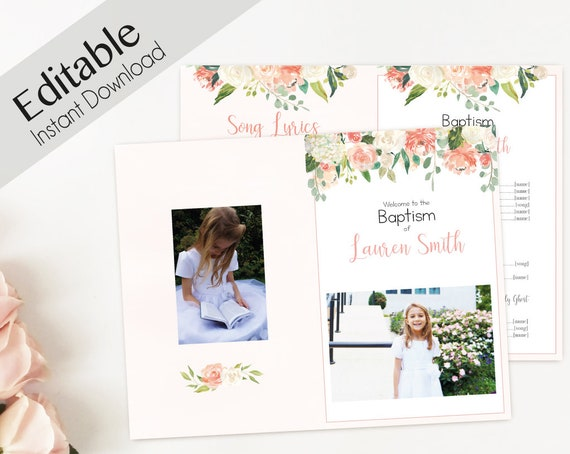 Baptism Program, Editable PDF, Printable Digital Handout Girl Baptism, peach flowers, Girl Baptism, LDS Baptism Program Template