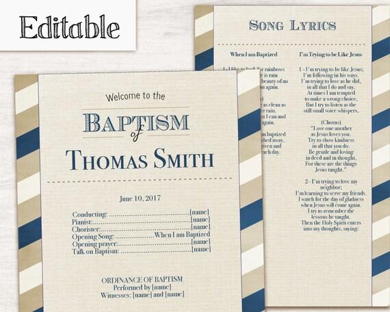 Baptism Program, Editable PDF, Printable Digital Handout boy Baptism, blue beige, Boy Baptism, Boy Program Template, Instant Download
