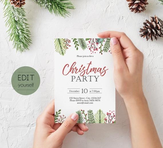 Christmas Invitation template, Christmas Invite Editable Christmas Party template, Editable Christmas Invitation, Holiday Party, Corjl