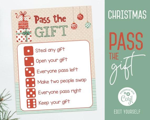Christmas Gift Exchange game, Editable Christmas Pass the Gift Game, Christmas Template, Holiday party games, Christmas printable, Corjl