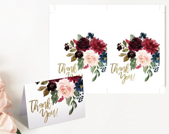 Bridal Shower Thank you Card, Thank you Card Printable, Blue Navy Marsala Burgundy Blush and Gold Thank you Card, Folded Card, Tent Card