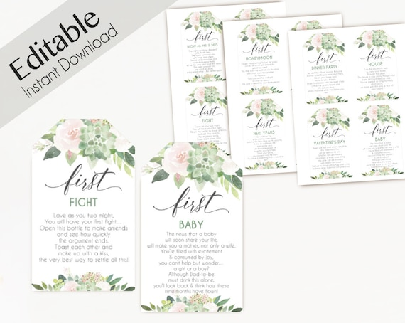 Editable Wine Tags with Poems for Wedding, Marriage Milestone Wine Basket Tag template, Succulent Greenery Blush Rose Flower, wine poem tags