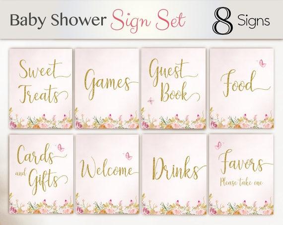 Baby Shower Sign Set, Baby Shower Sign Package Set Bundle , Printable Baby Sign, Butterfly Sign, Floral Sign, Baby Shower Gold Pink