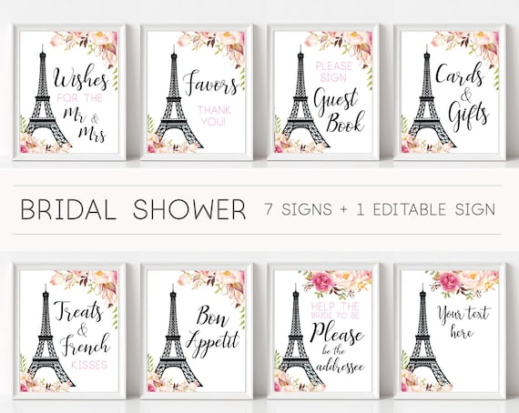 Sign Paris Themed Bridal Shower, Bridal Shower Sign Package Bundle, French Decor Eiffel Tower Romantic Blooms Rose Floral Sign, French Theme