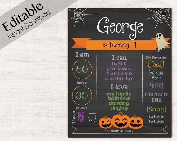 Birthday Halloween Chalkboard, Editable Text, Art Print, Chalkboard Sign, Halloween Party, INSTANT DOWNLOAD Chalkboard Birthday Party Poster