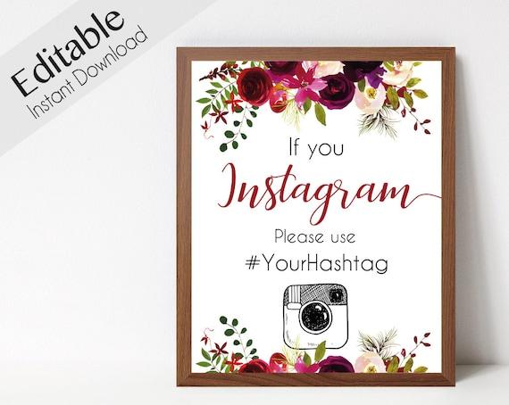 Instagram Bridal Sign, Instagram Wedding Sign, If You Instagram Sign, Burgundy Sign Template, Editable Wedding Hashtag Sign, Instagram Sign