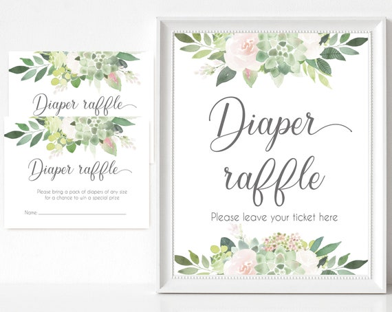 Diaper Raffle Sign, Diaper Raffle Card, Baby Shower Sign Printable, Greenery Succulent Dusty Rose, Baby Shower, Instant Download