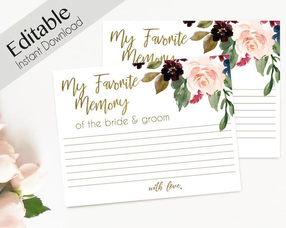 Favorite Memory Card, Printable Bridal Shower Editable Memory Card, My memory with the bride & groom, Blue Navy Marsala Burgundy Blush Gold
