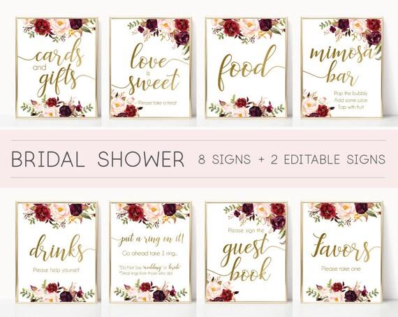 Bridal Shower Sign, Bridal Shower Sign Package Bundle,Printable Bridal Tea, Marsala Burgundy Blush Floral Gold, Editable Sign