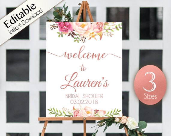 Welcome Sign Bridal Shower Template, Editable PDF ANY EVENT Bridal Baby Wedding Baptism Birthday Shower Sign Romantic Rose Gold Floral
