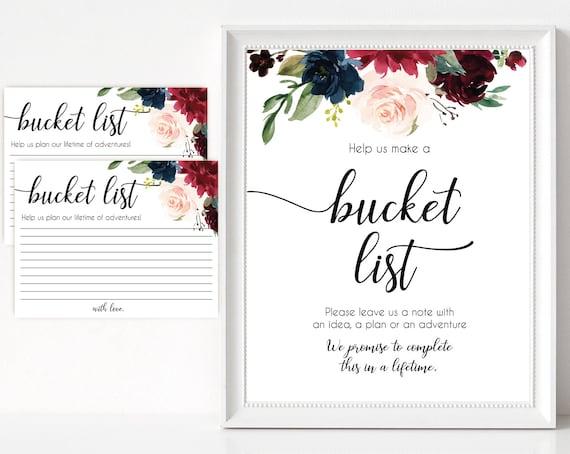 Wedding Bucket List, Bucket List Wedding, Bucket List Guest Book, Wedding Guest Book Ideas, Bucket List Printable, Navy Blue Marsala