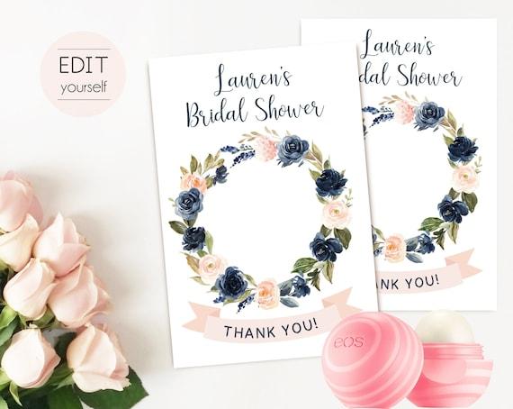 Editable EOS Lip Balm, Thank You Tags Floral, EOS tags, EOS Bridal Shower, Favors Bachelorette, Navy Blue Blush Rose Floral, Party Favor