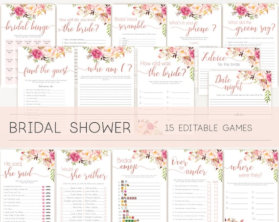 Bridal Shower Games, Bridal Shower Games Bundle, Bridal Shower Games Rose Gold,  Package Set Bundle, Editable Games, Wedding Shower Games