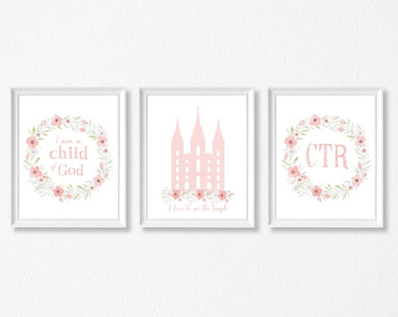 LDS Digital Print, Set of 3 print, I am a Child of God, lds Temple, ctr, Instant Download, pink flowers, Girl Wall Decor, Girl Baptism